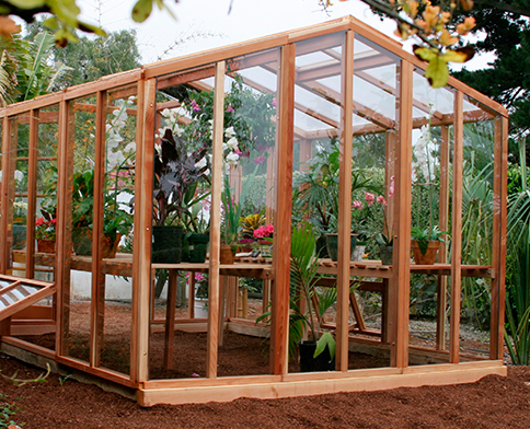 Our wooden greenhouse kits come with either glass or polycarbonate paneling.