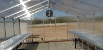 Interior of our aluminum climate controlled greenhouse kit.