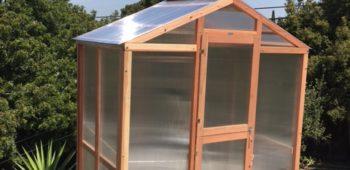 Freestanding redwood greenhouse on backyard patio.