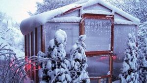 Our redwood climate controlled greenhouse kits are perfect for gardening in the snow.